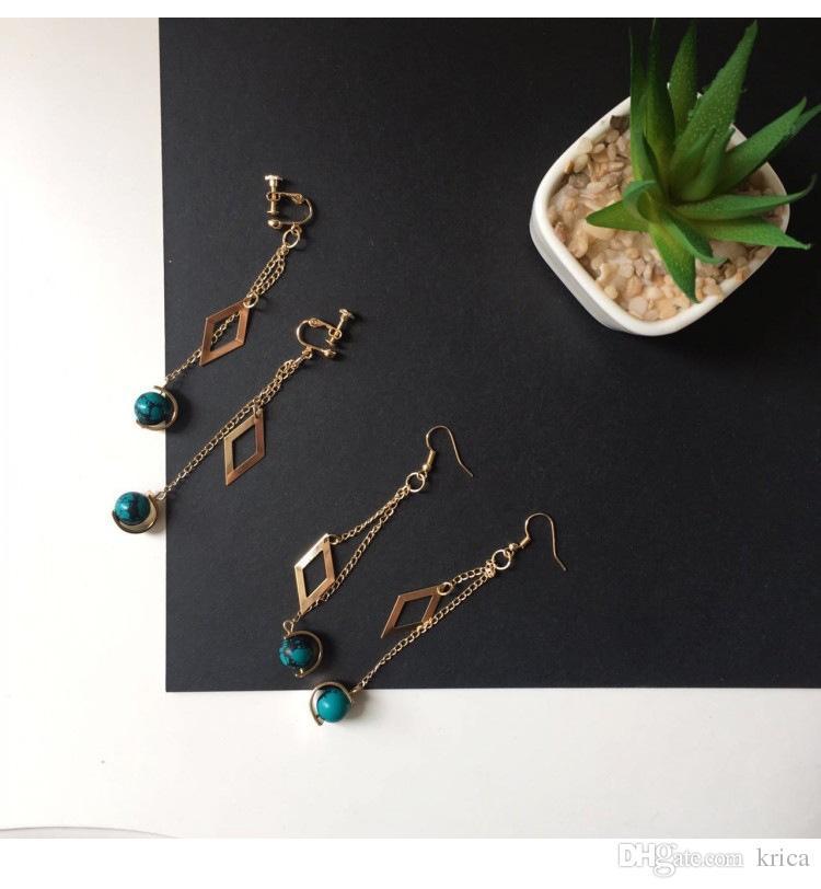 97e5afb95 Hot Korea minimalist small diamond Vintage Rosary ear Clip Stud women aesthetic  temperament copper pendant Non ...