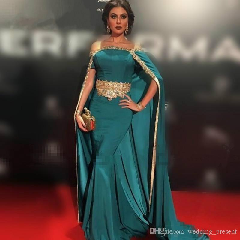 2017 New Hunter Green Satin Mermaid Evening Dresses Gold Beaded Lace Prom Gowns with Cloak Long Dubai Arabic Long Party Pageant
