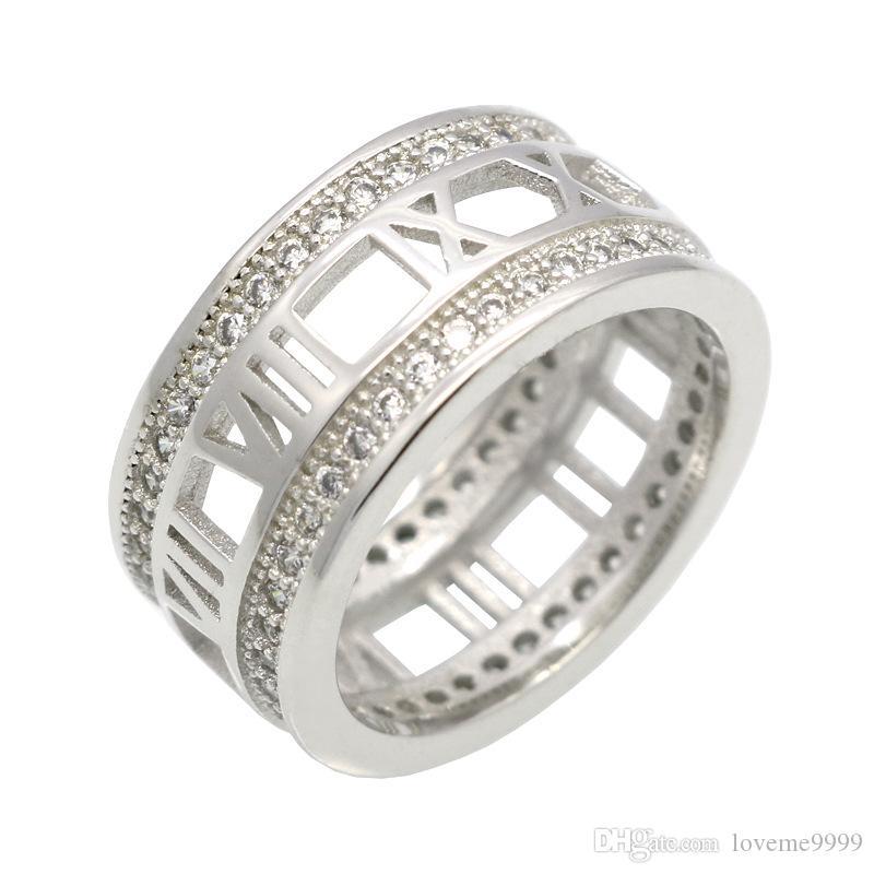 Топ Qualtiy нержавеющей стали римские Numernal полые кольца для женщин изысканные ювелирные изделия роскошные мода кольцо