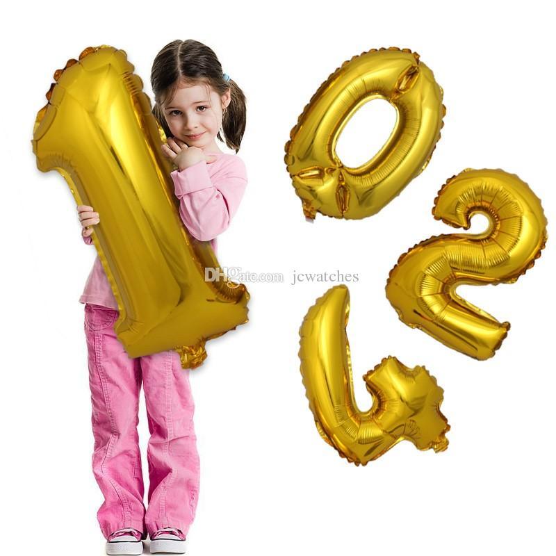 32 인치 골드 실버 번호 알루미늄 호일 풍선 편지 헬륨 풍선 생일 장식 웨딩 공기 풍선 파티 용품