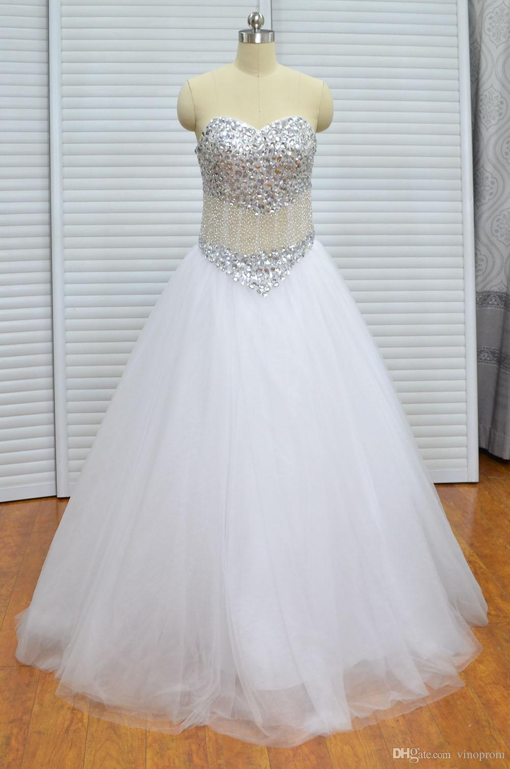 Vinoprom Real Photo A-line Sweetheart Women Lace White Beaded Floor Length Wedding Dress Bridal Gown 2018