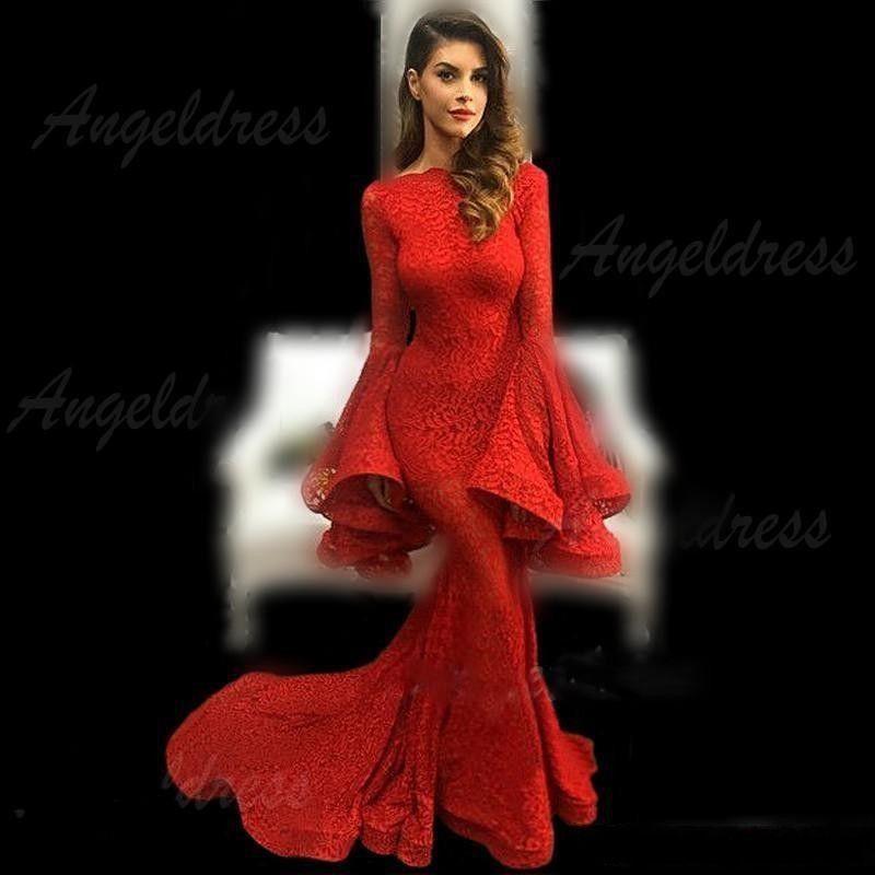 2019 rosso pieno pizzo abiti da sera maniche lunghe tromba sirena sweep treno abiti da ballo sauditi donne formale partito vestidos economici