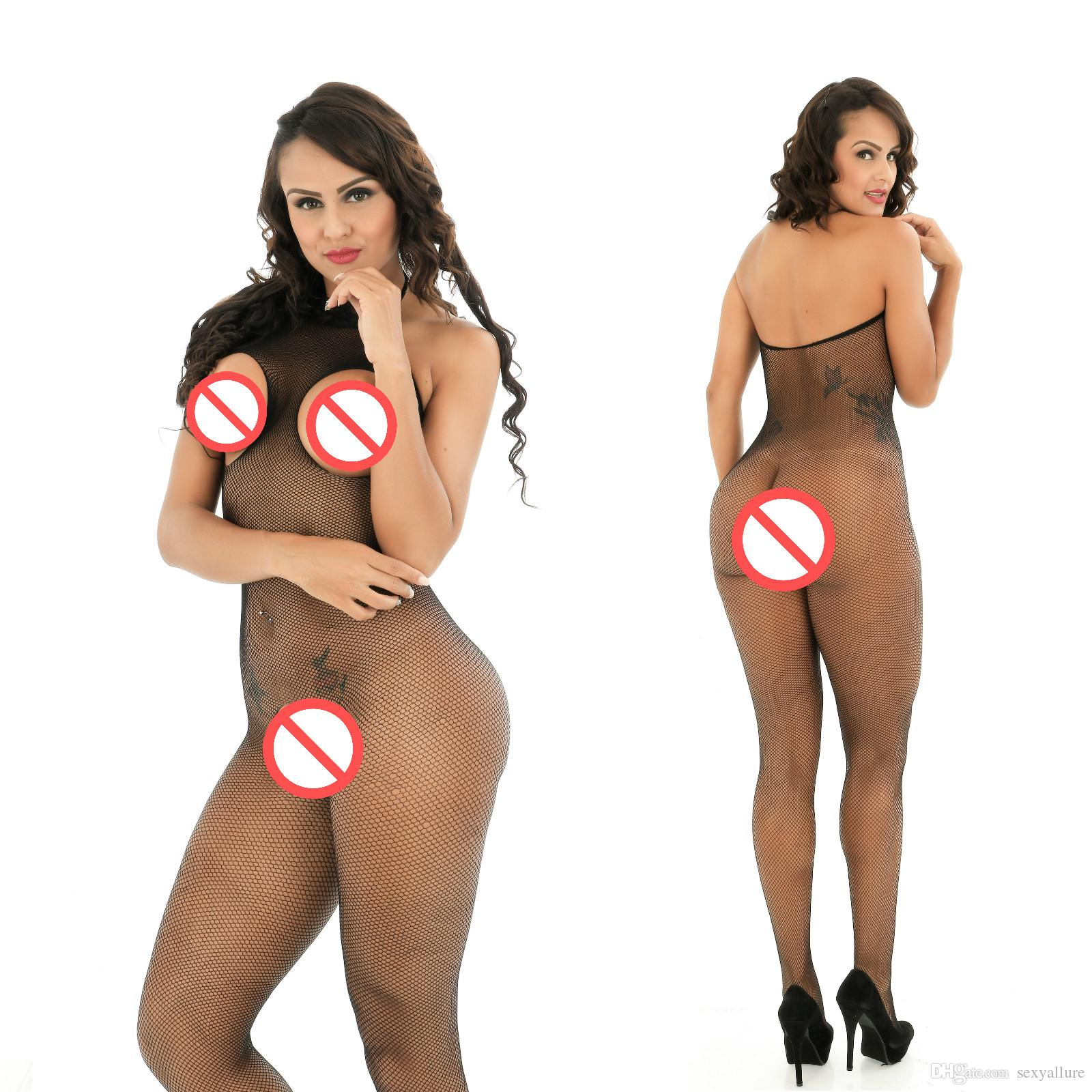 2017 Body costume Femmes Sexy Lingerie Sheer Nylon Corps Stocking Halter ouvert Buste Crotchless Corps Bas Collants Exotic Apparel Vêtements De Nuit