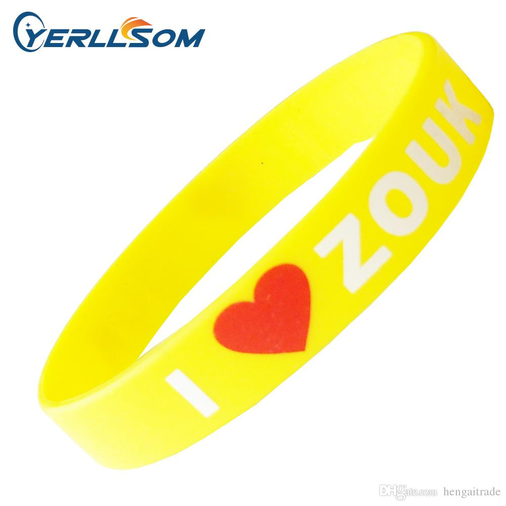 100PCS/Lot Customized Screen printing 2 color Personalized Centense Rubber Wristbands For Events Y061508