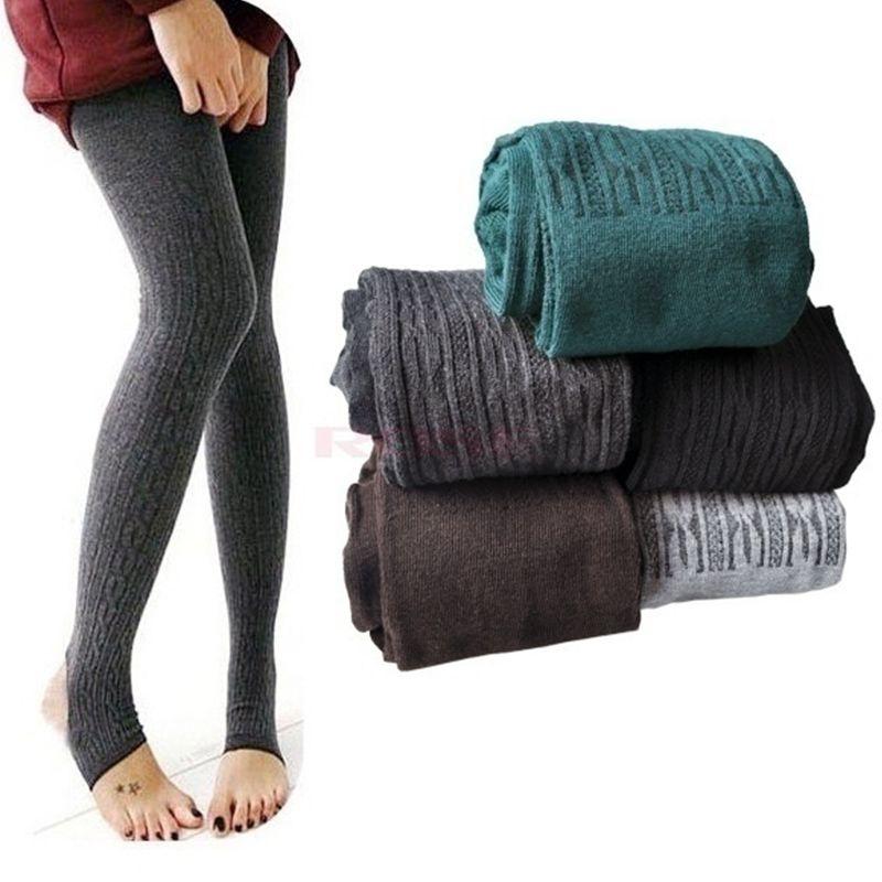 Al por mayor-Mujeres chicas calientes de punto polainas de cable sólido elástico Fitness sobre los talones Pantynose primavera otoño pantalones de un tamaño delgado pierna Q5323