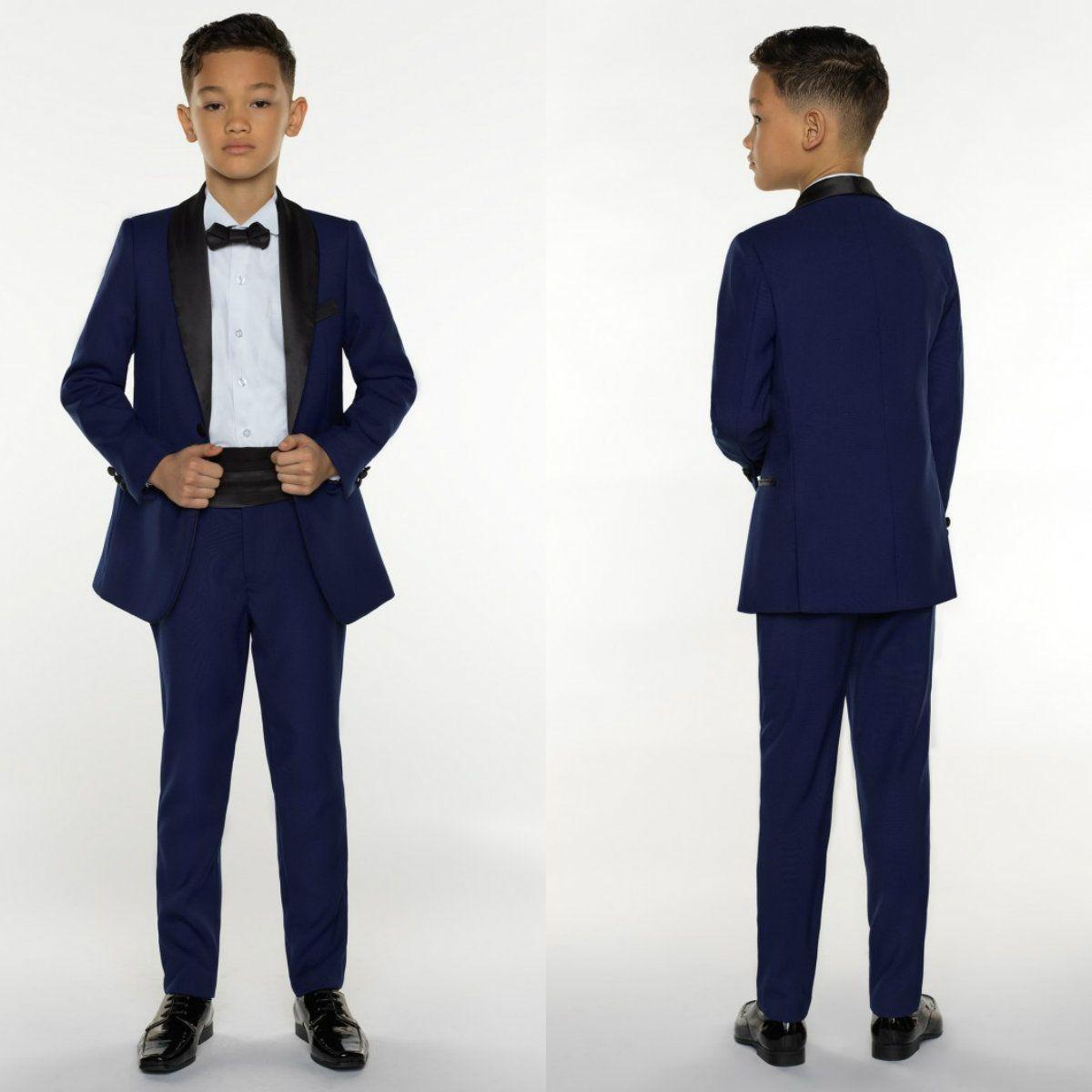 Boys Tuxedo Boys Dinner Boys Formal Suits Tuxedo for Kids Tuxedo Formal Occasion Blue and Black Suits For Little Men (Jacket+Pants+Vest)