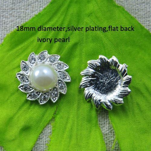 ... L0634 Blumenrhinestoneverzierung, 18mm Durchmesser, Flache Rückseite,  Silberüberzug, Elfenbein Oder Reine Weiße Perle