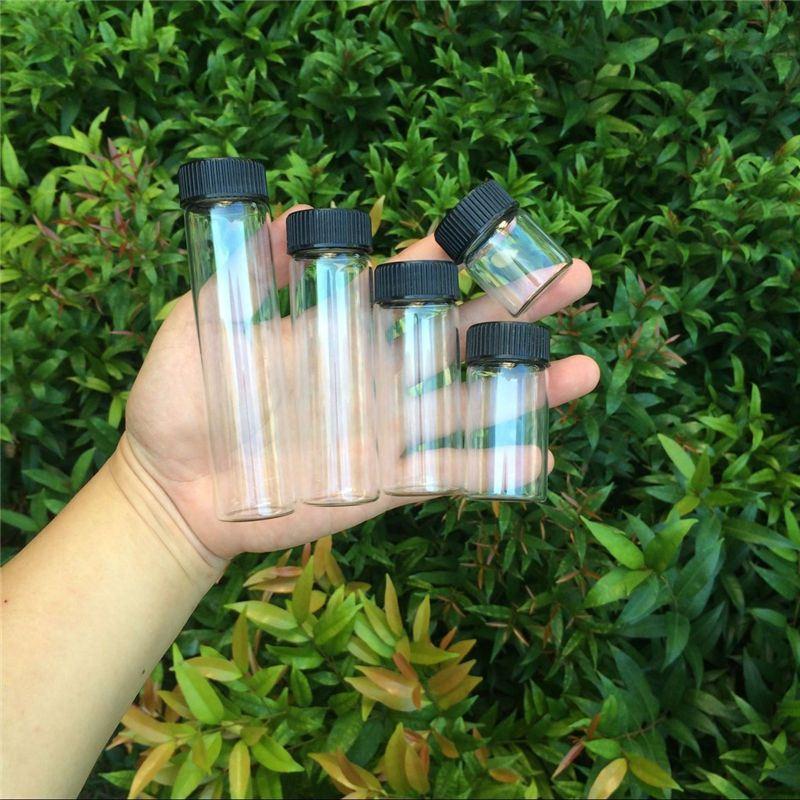 15ml 25ml 40ml 50ml 60ml Glass Bottles Plastic Cap Black Screw Transparent Glass Vials Plastic Bottles Jars Bottles3