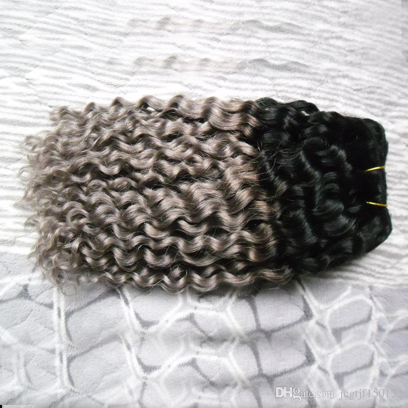 T1B / 그레이 ombre 브라질 머리카락 깊은 파도 100g 회색 머리 짜다 번들 1pcs 브라질 머리 직물 번들 이중 위사 품질, 아니 흘리기