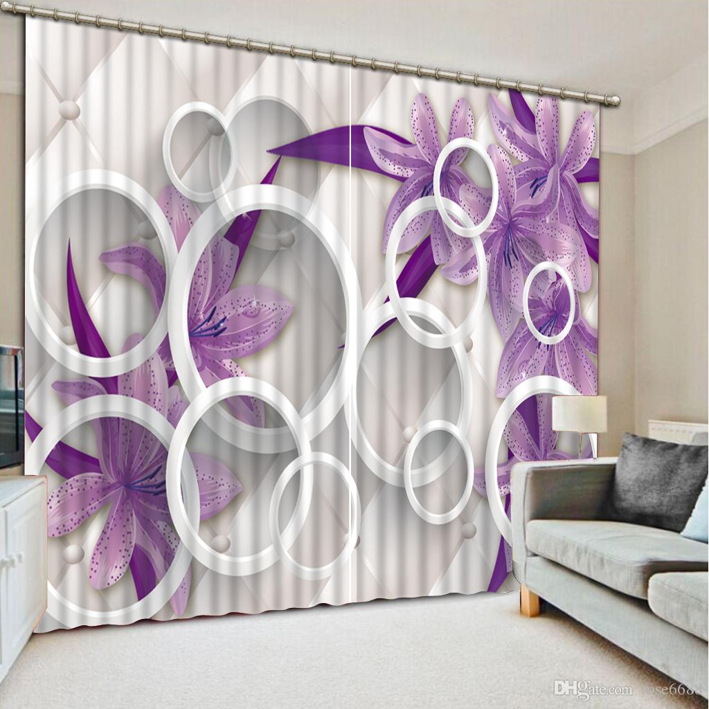 Fashion Curtain 3d Home Decor Beautiful Curtains For Living Room Purple Flower Stereoscopic Home Decor Living