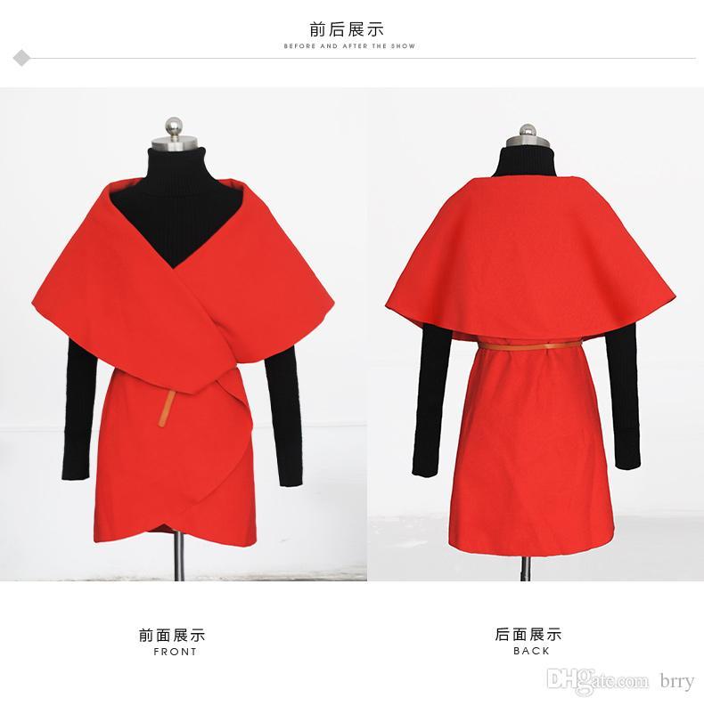 Оптово-горячие погружение модные поступления осенний бренд отворота высокий случайный оранжевый стиль продажа женских плиссированных новых уличных поев корейское пальто IAUMG