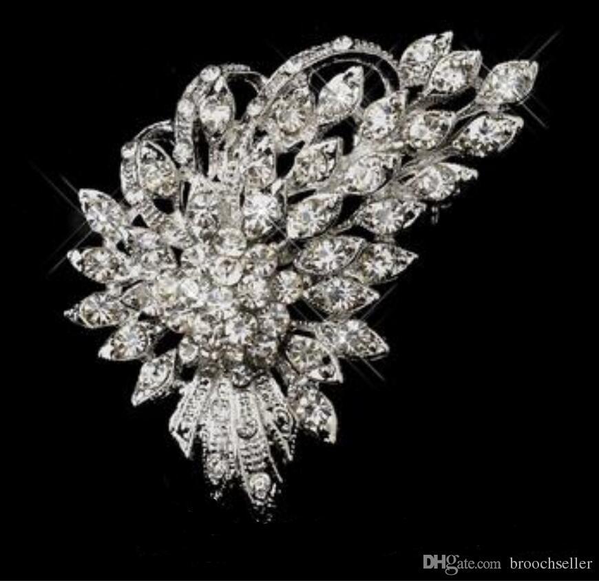 """2.25 """"Broche plateado de la flor de la hoja del Rhinestone claro plateado plata del rodio"""