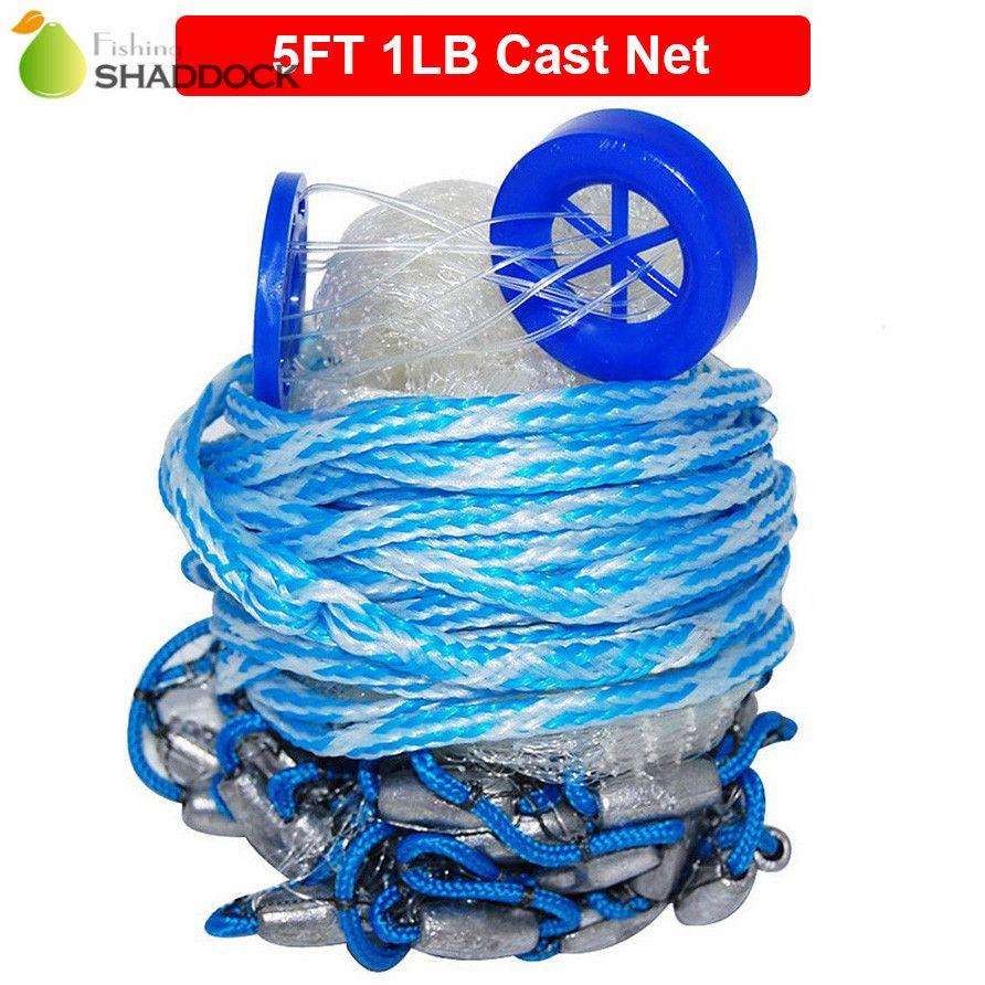 5 Feet Radius 1LB Fishing Cast Net American Heavy Duty Real Lead Weights Hand Throwing Trap Net With Plastic Bucket