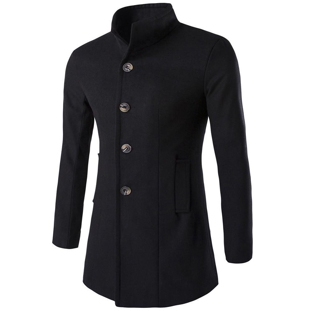 All'ingrosso formato M-XXXL 5 colori Autunno Inverno Uomo modo ispessisce trincea Maschio caldo cappotto monopetto giacca blu marina lungo cappotto dicembre