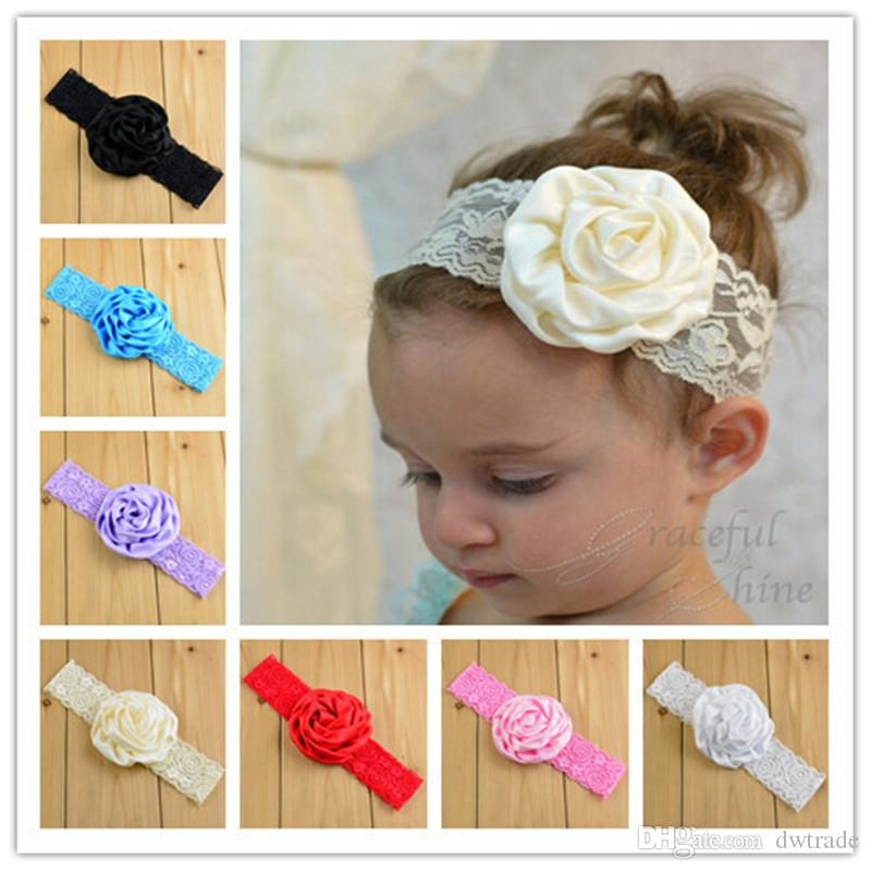 NEW Baby Toddler Child Elasticity Headband Lace Flower Cute Hairband many Color