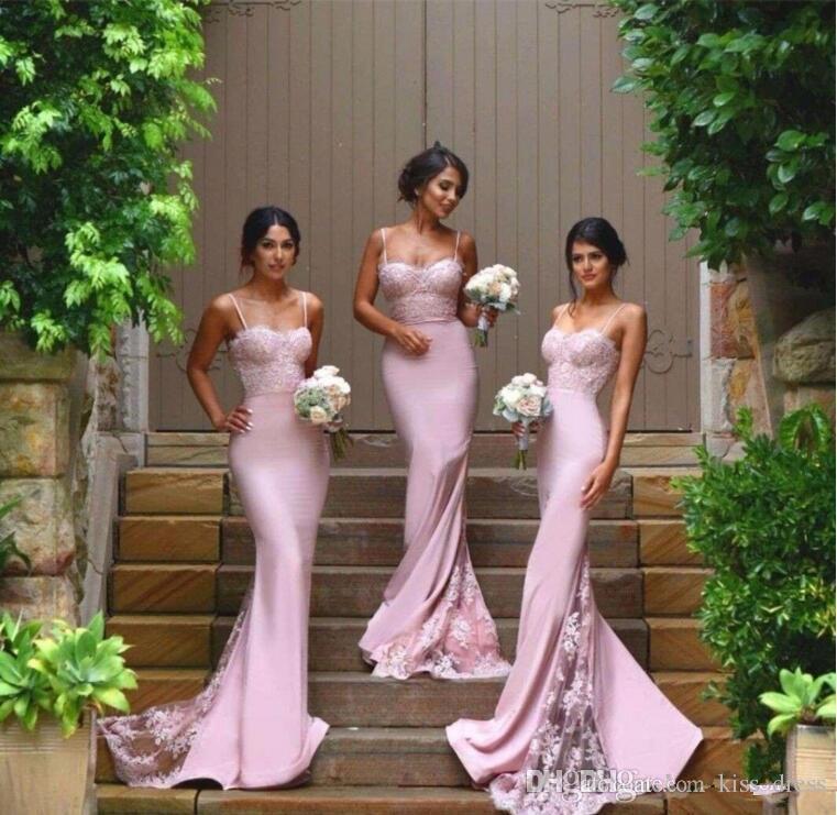 2019 New Lace Pink Long Bridesmaid Dresses Sweep Train Sleeveless Elegant Spaghetti Strap Mermaid Formal Gowns Custom Made Hot Selling B80