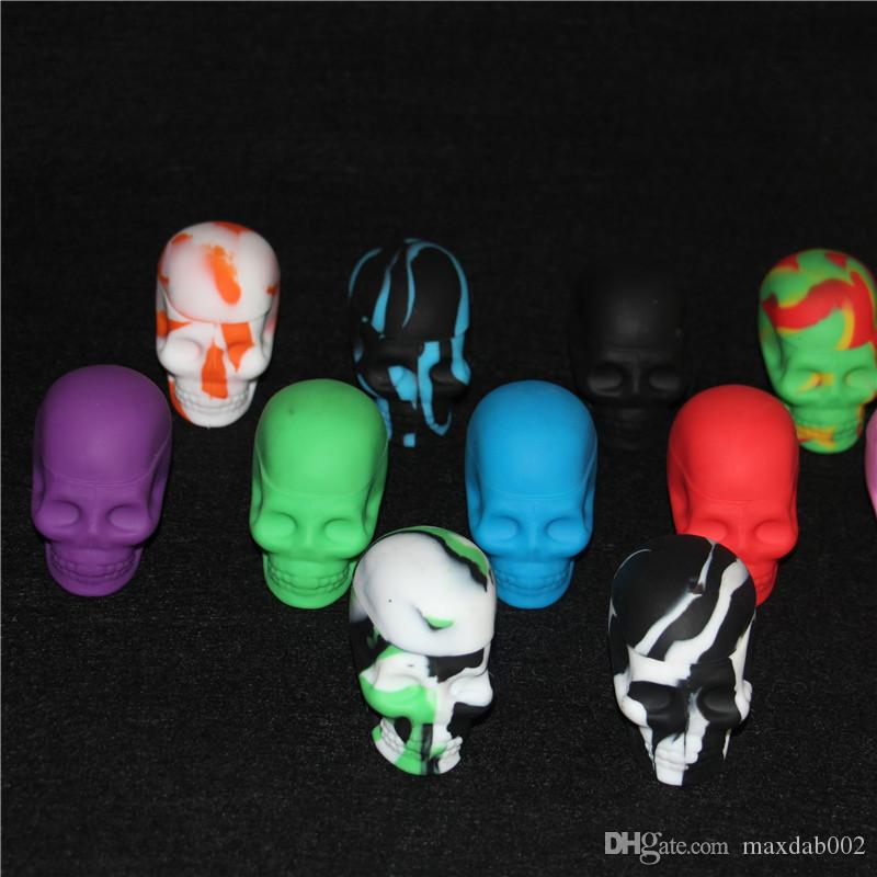 skull silicone containers, skull silicone dab jar wax containers, 15ml skull silicone dab jar OEM available glass bubbler bong