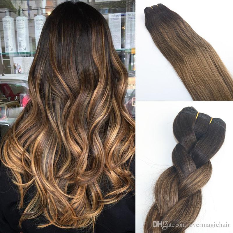 Großhandel Balayage Ombre Dye # 2 # 8 Brown Hohe Qualität Heißer Verkauf  Brasilianisches Reines Haar Gerade Menschenhaarwebart Extensions Bundles  100g ...