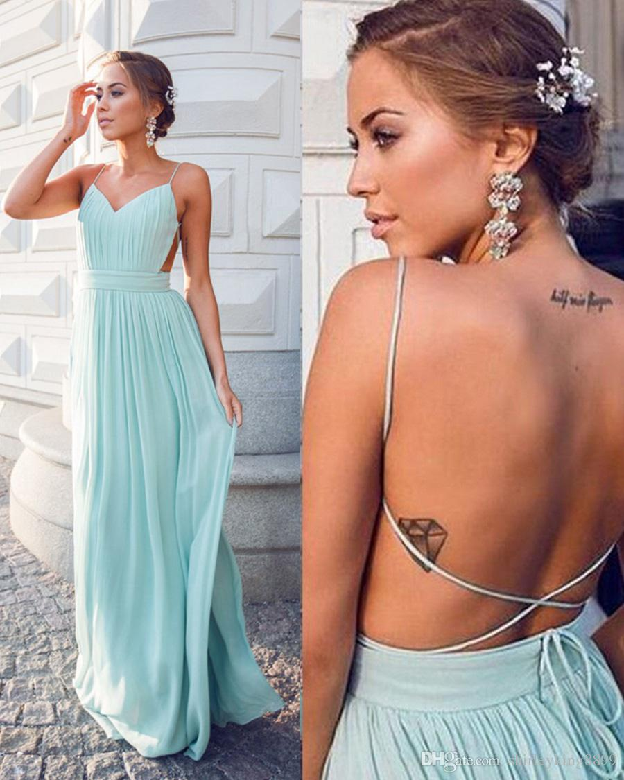Vintage A-Line Blue Chiffon Party Dresses 2017 Spaghetti Neck Sleeveless Pleats with Backless Cocktail Gowns Custom Hot Sale