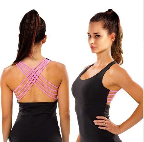Dry Fit negro Fitness Running camiseta deportiva Sexy Rose Red Strappy Back Cross Yoga Tops ejercicios de entrenamiento elástico Super Blusa
