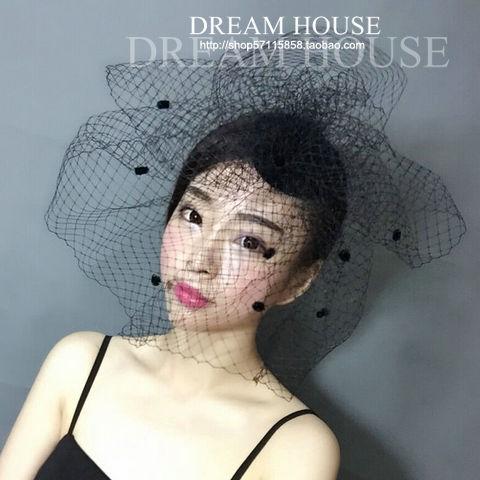 Женщина головной убор волосы обернуть негабаритных невеста чистая вуаль шляпа, преувеличивать черный и белый большой точки сетки, маленькая шляпа, заколка для волос, головной убор цветок