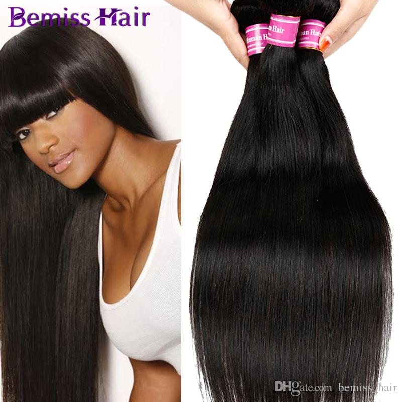 2017 HOT SALE Bemiss Unprocessed Virgin Human Hair Weaves Brazilian Malaysian Indian Peruvian Wet And Wavy Human Hair Bundles Natural Black