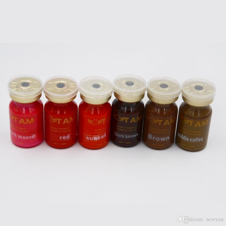 Inchiostro per trucco permanente TAM 10ml con pigmenti per tatuaggi pigmento 6 colori con labbra semi pemanenti e macchine per il trucco con micropigmentazione e costo della penna