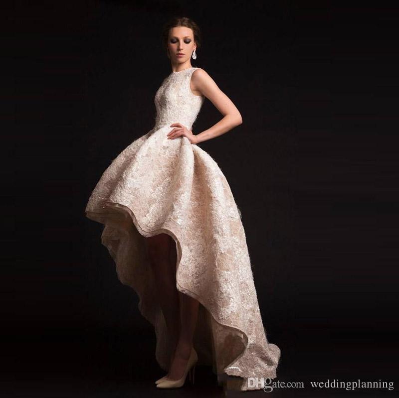 2018 NEW Krikor Jabotian Evening Dress Crew Neckline Hilo Ruffles Prom Dresses Organza Appliques Flower Dress Style Shape Ball Gown
