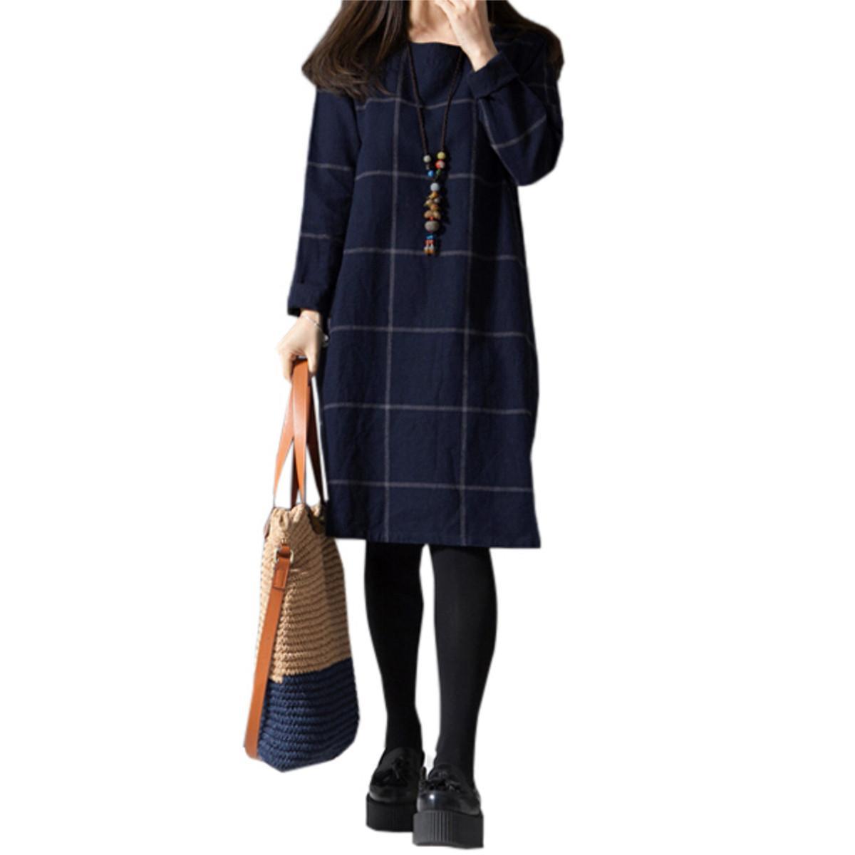 Zanzea vestidos ربيع الخريف المرأة الأزياء منقوشة اللباس زائد الحجم س الرقبة طويلة الأكمام جيوب بطول الركبة فساتين عارضة فضفاض