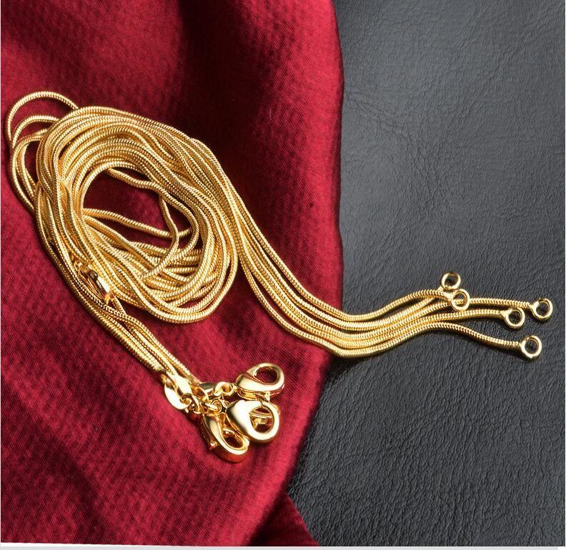 Promoción chapado en oro 18k Collares sin estimulación de arena Vietnam cadenas de no desvanecimiento (16,18,20,22,24,26,28) mm Collares pulgadas 1