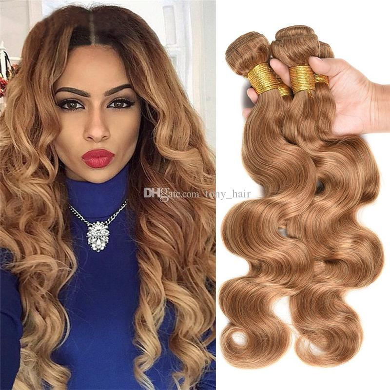 Honey Blonde Virgin Malaysian Human Hair 4 Bundles Color #27 Strawberry Blonde Body Wave Hair Weaves 4Pcs Blonde Hair Extensions