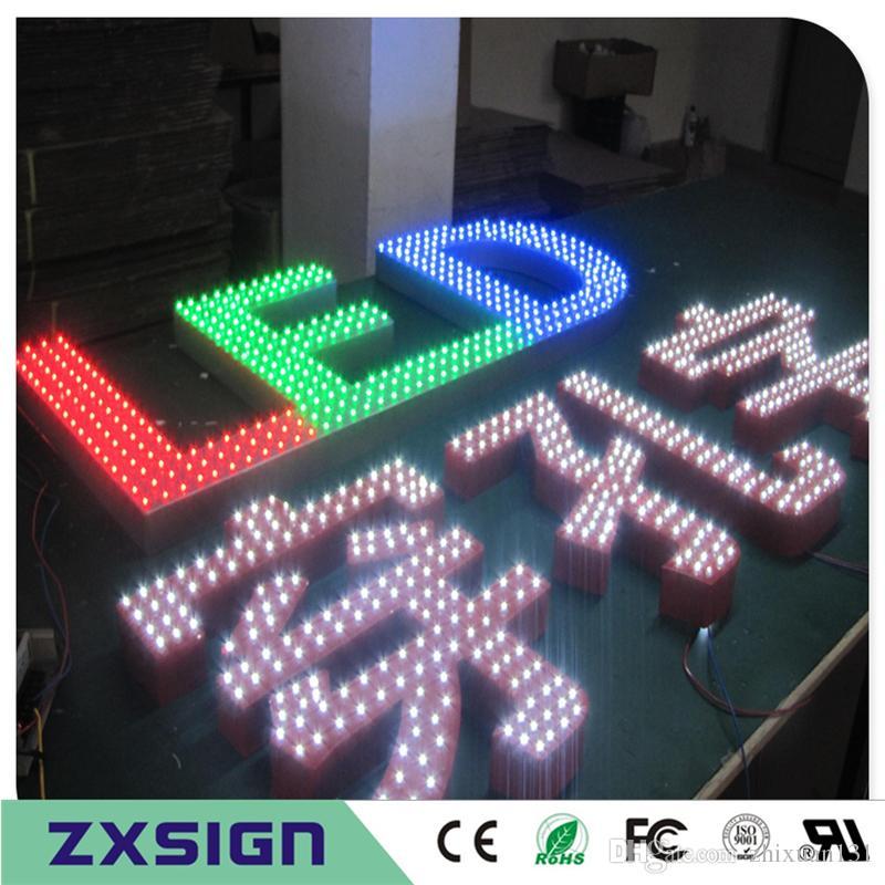 Outdoor Frontlit Edelstahl Perforationsbuchstaben, hohe Helligkeit durch Löcher Sichtbare LED-Beschriftung für Geschäftsschilder aus Metall