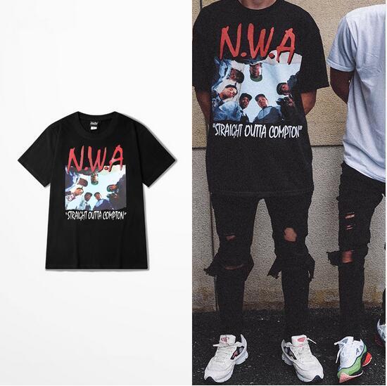 Kanye West 2017 Hip-hop print t-shirts style of high quality1:1 short sleeve t-shirt NWA Straight Outta kind t shirt men women yeezus shirt
