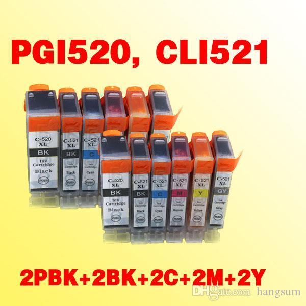 Cartucho de tinta de 10pcs PGI520 CLI521 compatible para Canon Pixma MP540 // MP620 / MP630 / MP980