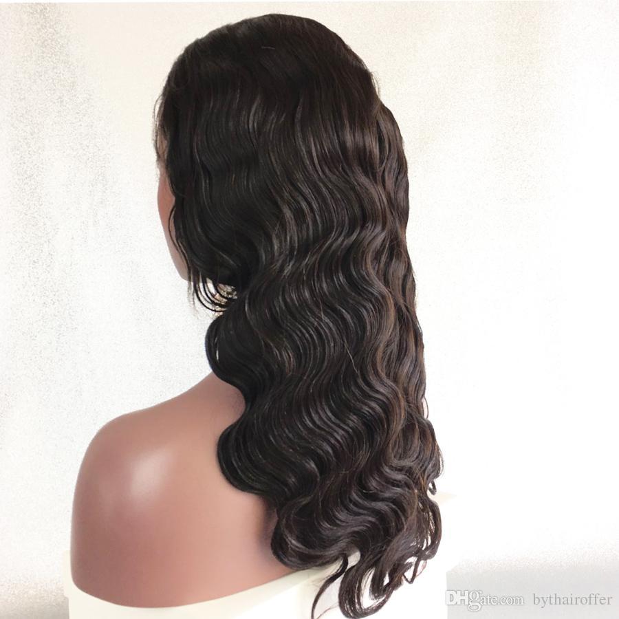 Bythair doğal saç çizgisi brezilyalı tutkalsız tam dantel peruk vücut dalga İnsan saç ön dantel peruk dalgalı doğal renk ile bebek saç