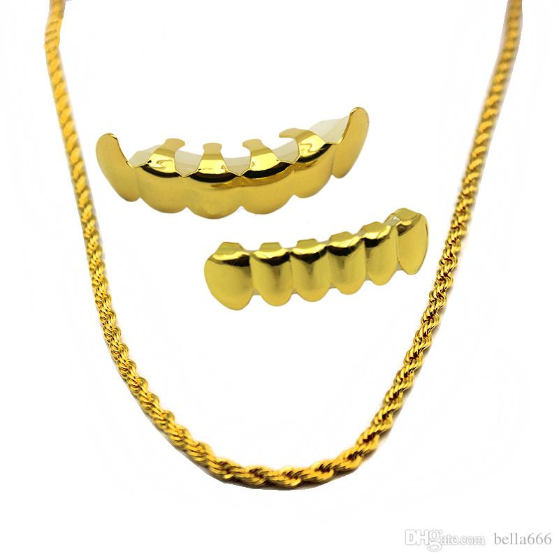 New Gold Plated Hip Hop Denti Grillz Caps Top Bottom Vampire Grill Set con collana a catena di 6 Rapper dorata