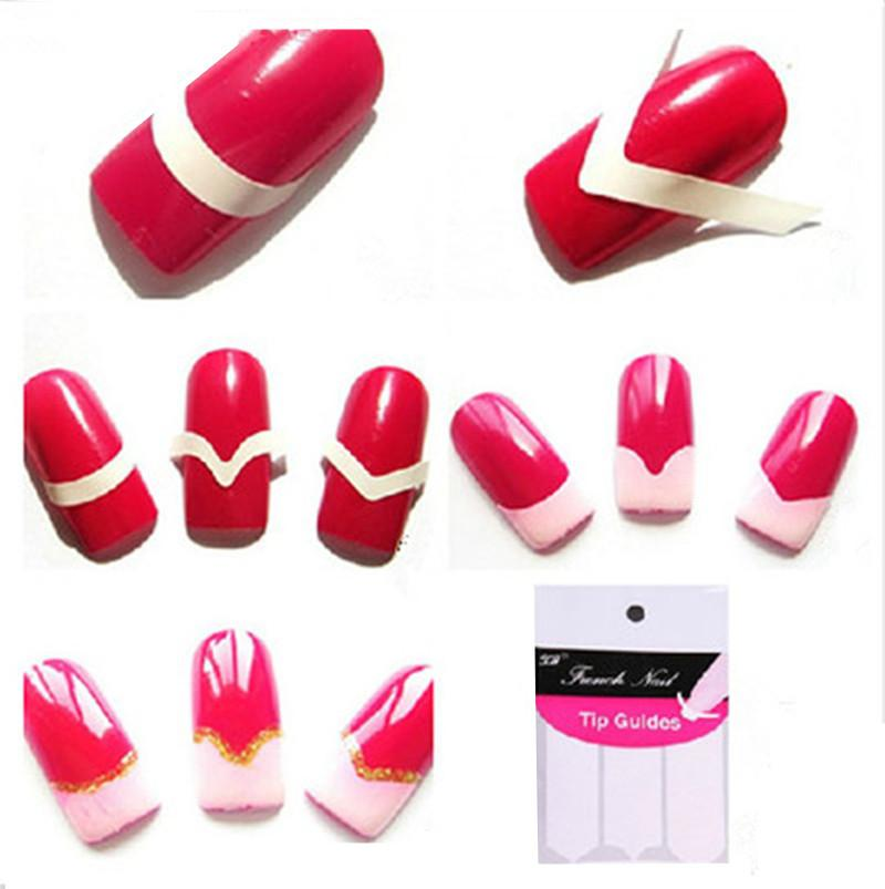 10 Pack=480 Sticker French Manicure Strip Nail Art Form Fringe Guides Sticker DIY Stencil Nail Art Decorations