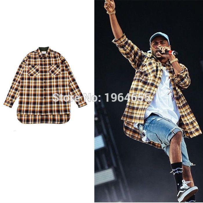 도매-S-XL 남성들의 옷 클럽 의상 플란넬 한국 금 롱 슬리브 셔츠는 독특한 가을 드레스 타탄 셔츠 브랜드 의류
