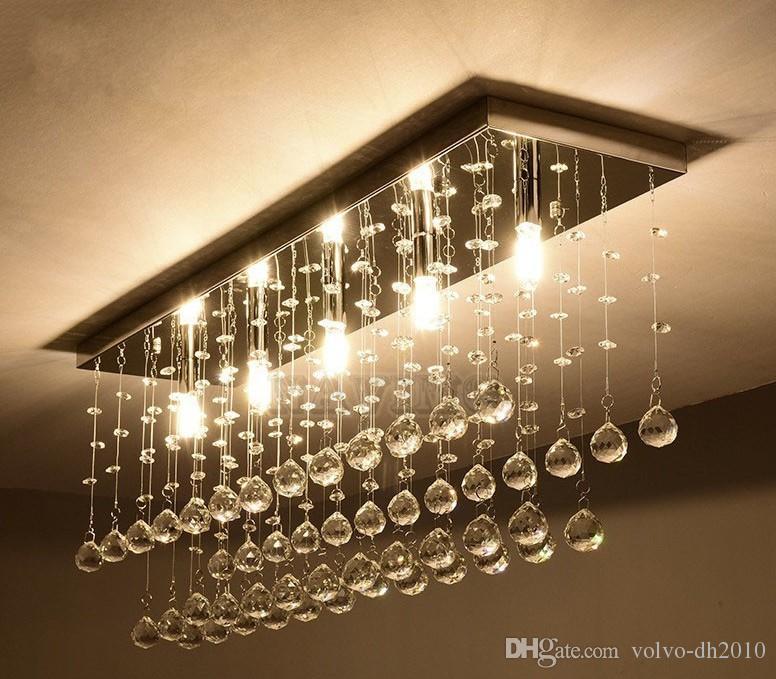 Contemporain LED Lustre En Cristal Lustre Intérieur Rideau Vague Luminaire En Fer Forgé Lustre Salle De Bains Lampe LLFA