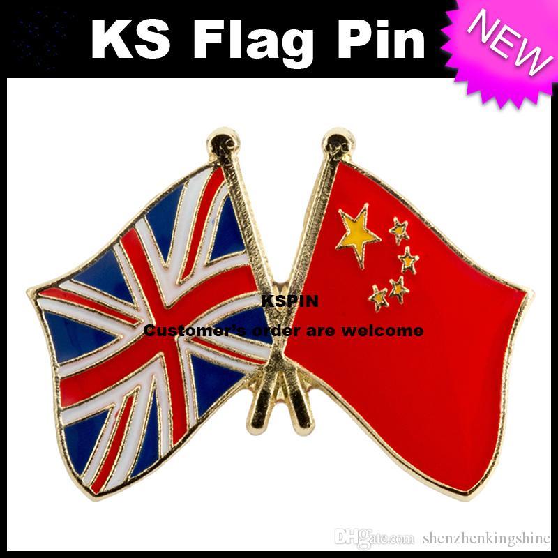 Pin 10pcs della bandierina del distintivo della bandierina di amicizia del Jack China del Regno Unito molto trasporto libero 0003