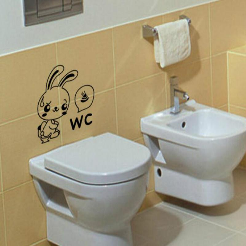Rabbit Toilet Poop Toilet Sticker Decal Vinyl Bathroom Sticker Murals Art Wall Stickers Home Decor