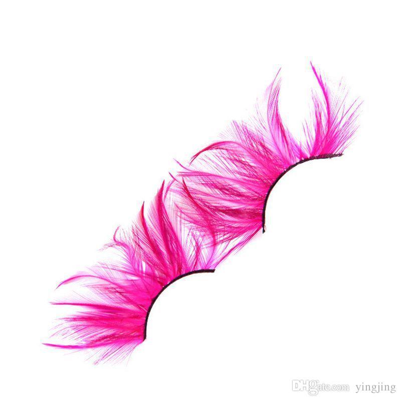 Pink Soft Feather Color False Eyelashes 100% Handmade Makeup Fake Eyelashes Fashion Masquerade Art Catwalk Lashes