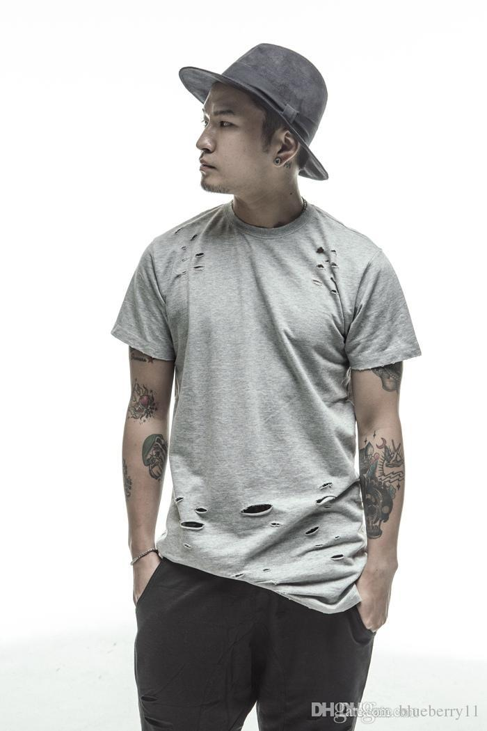 casual extended tee shirts white/black hip hop Fashion Hole Streetwear short sleeve long t shirts cool swag clothes