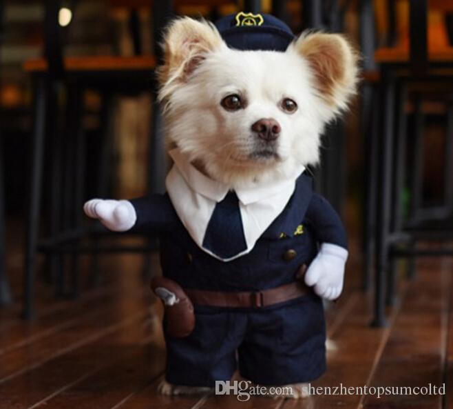 Fantaisie drôle animal de compagnie chat chat robe costume uniforme vêtements + chapeau le jeu de tissu de police pour chien chat