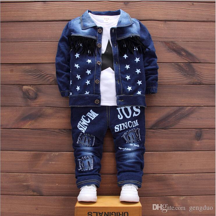 Baby Boys Abbigliamento Set Ragazzi Abiti Denim Jeans Cappotto 3PCS Imposta Toddler Bambini Abbigliamento casual Tute Abbigliamento per bambini