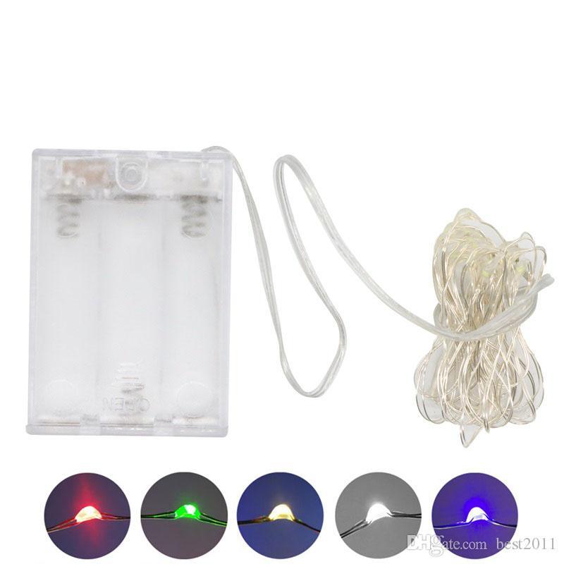 AA Batterie électroportatifs LED Cuivre Fil d'Argent Fée Guirlandes 50Leds 5M Noël Noël Accueil Party Decoration Graine Lampe d'extérieur