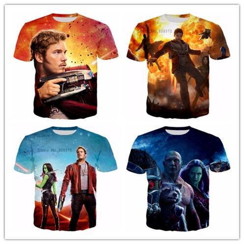 2017 Dernières Design Été Mode T-shirts Gardiens de la galaxie du film 3d imprimé hommes femmes T-shirt décontracté S-5XL H57