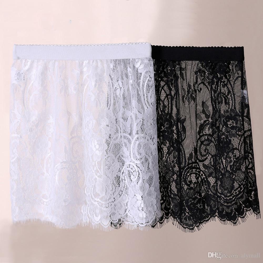 Женская кружевная полупрозрачная прозрачная юбка с эластичной талией Нижняя юбка длиной до колен Юбка белая Черная