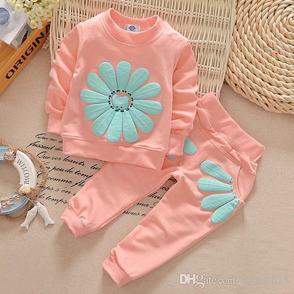 Spring Autumn Girls Tracksuit Baby Kids Flowers Tops Sweatshirt + Pants 2pcs Clothing Suits Children Cotton Outfits Sets 5 Colors 2231