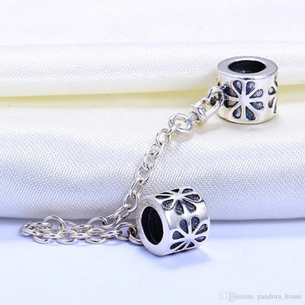 Vente en gros 925 Charme en argent Sterling Charme Fleur Chaîne de sécurité FLOTATINE Perles d'argent pour Pandora Snake Chain Bracelet DIY Bijoux